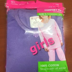 🆕 Comfort Fit Girl's Thermal 2 Pc Set Purple-L